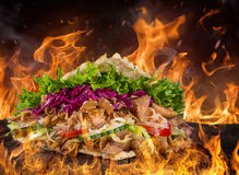 Close up of kebab sandwich Royalty Free Stock Photo