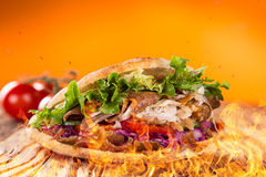 Close up of kebab sandwich Royalty Free Stock Photography