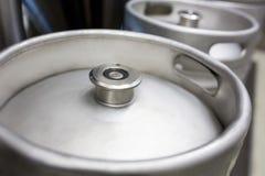 Close-up of keg. At bewery Stock Photography