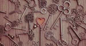 Key love sign. Close up key love sign and concept, Valentine`s day Royalty Free Stock Photography