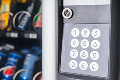 Close Up of Key Pad on European Vending Machine Stock Photo
