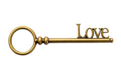 Close up Key vintage and LOVE text on isolate Royalty Free Stock Photos