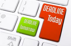 Close Up Of A Keyboard With Deadline Today And Tomorrow Buttons Stock Photos