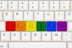 A close-up of a keyboard with highlighted text LGBTQ+. A close-up of a keyboard with highlighted in pride colors text LGBTQ stock photography