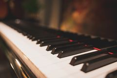Classic piano key in romantic atmosphere. Acoustic music instrument concept Royalty Free Stock Images