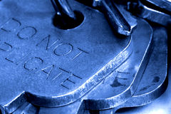 Close up of Keys. Blue Toned Keys royalty free stock images
