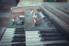 Close up keys of the old synthesizer keyboard. Royalty Free Stock Photo
