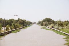 Khlong Preng canal in country Chachoengsao Thailand. Close up Khlong Preng canal in country Chachoengsao Thailand royalty free stock images