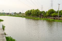Khlong Preng river in Chachoengsao Thailand. Close up khlong Preng river in Chachoengsao Thailand stock photography