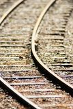 Close up kids wooden railroad track with selective focus, background royalty free stock image
