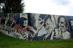Close-up of King Biscuit Wall painting at the Helena Levee Walk, Helena Arkansas. (Helena, Arkansas) — What is about the Delta that gave rise to America's Royalty Free Stock Images