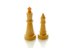 Close-up of a king and a queen chess pieces Royalty Free Stock Photos