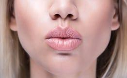 Close up kissing lips royalty free stock photos