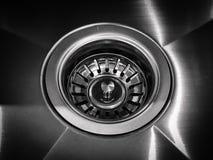 Kitchen metallic sink Stock Photo