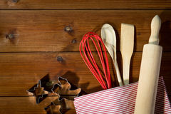 Close up of kitchenware set for baking gingerbread Royalty Free Stock Image
