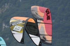 Close-up of kitesurfing sail Royalty Free Stock Photography