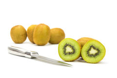 Close up kiwi fruits and slice kiwi fruits Stock Photography