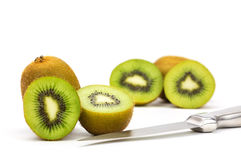 Close up kiwi fruits and slice kiwi fruits isolated Stock Photography