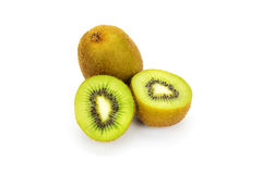 Close up kiwi fruits and slice kiwi fruits isolated Royalty Free Stock Photos