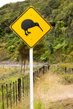 Close-up of kiwi road sign. A close-up of a kiwi bird warning sign along a New Zealoand road royalty free stock photography