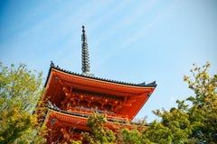 Close-up of Kiyomizu-dera buddist temple pagoda in Kyoto Stock Image