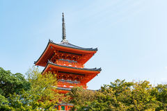 Close-up of Kiyomizu-dera buddist temple pagoda in Kyoto Stock Photos