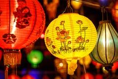 Close-up kleurrijke internationale lantaarns stock afbeeldingen