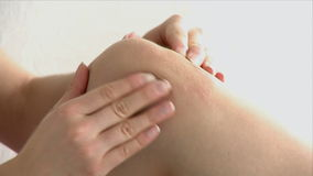 Close up of a knee massage stock footage