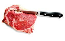 Close-Up Of Knife Cutting Beef Royalty Free Stock Image