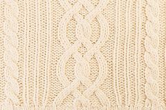 Close-up of knitted pullover or sweater. As winter clothing textile concept Royalty Free Stock Photos