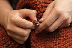Close Up of Knitting Hands Royalty Free Stock Images