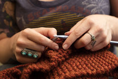 Close Up of Knitting Hands Stock Photo