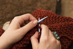 Close Up of Knitting Hands Stock Photography
