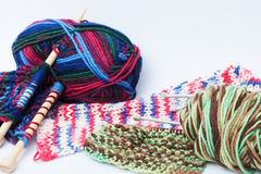 Close up of knitting projects. Three different knitting projects with knitting needles Royalty Free Stock Photo