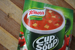 Close up on a Knorr Cup a Soup. Romania, Bucharest- 13 June 2016- The caption represents Knorr, Cup A Soup, mainly used for instant tomatoe soup by adding hot royalty free stock photography
