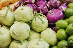 Close up of kohlrabi on market stand Stock Photo