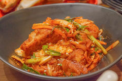 Close up Korean Spicy Chicken food Stock Photos
