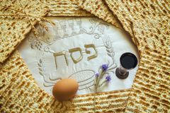 Traditional Jewish food and drink for Jewish Passover - Pesach holiday. Close up of kosher meal symbolizing ritual of holiday event designated for Jewish Royalty Free Stock Image