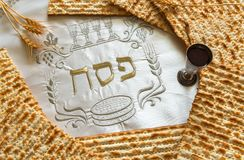 Traditional Jewish food and drink for Jewish Passover - Pesach holiday. Close up of kosher meal symbolizing ritual of holiday event designated for Jewish Stock Photography