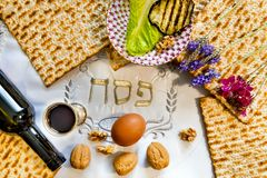 Traditional Jewish food and drink for Jewish Passover - Pesach holiday. Close up of kosher meal symbolizing ritual of holiday event designated for Jewish Royalty Free Stock Images