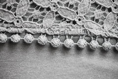 Close up of lace textile or clothing item. Textile and clothes concept - close up of lace fabric or clothing item Royalty Free Stock Photo