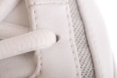 Close up on the laces of a basketball shoe Stock Image