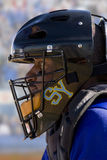 Close up of lacrosse player wearing helmet Stock Images