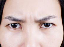 Close up lady angry and serious face. royalty free stock images