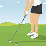 Close up of lady golfer putting. Golf course resort scenes of players and holes vector illustration