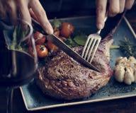 Close up of a lamb chop food photography recipe idea Stock Images