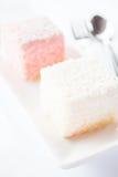 Close up lamington sponge cakes Stock Images