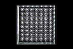 Close up lamp light-emitting diode shape square isolate on black background Royalty Free Stock Image