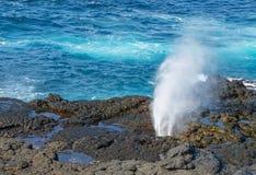 Blowhole on Espanola Island, Galapagos royalty free stock image