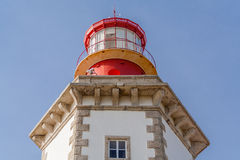 Close-up on the Lantern Room of the Espichel Cape lighthouse. Built during the 18th century is one of the oldest lighthouses in Portugal and insures safety in Stock Photo